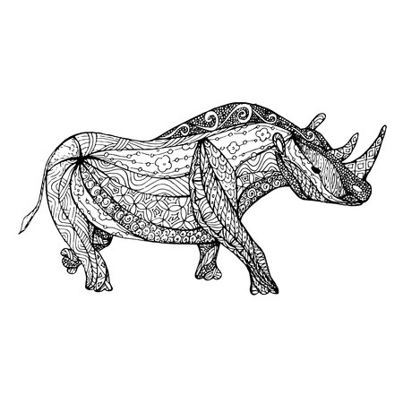 Monochrome sketch rhinoceros, coloring page anti-stress stock vector illustration for print.