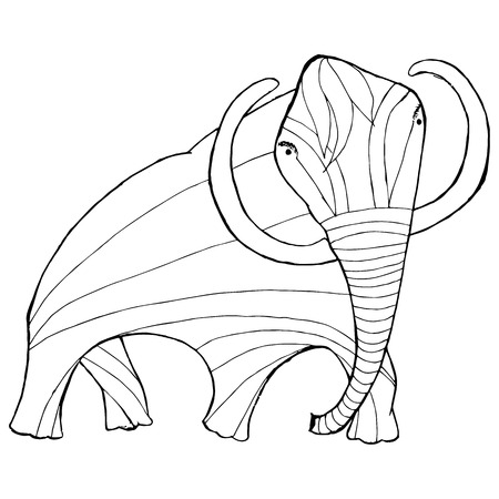 Monochrome sketch mammoth, coloring page antistress stock vector illustration for print, for coloring page Ilustrace