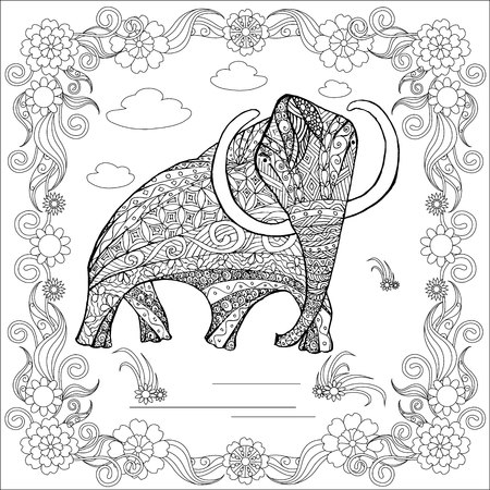 Monochrome sketch mammoth in floral frame, coloring page antistress stock vector illustration for print and for coloring page.
