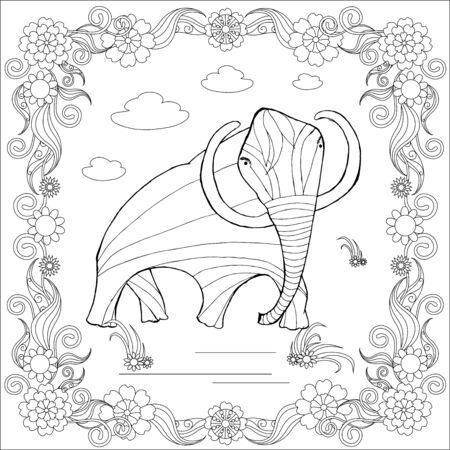 Mammut schizzo monocromatico in cornice floreale, pagina da colorare antistress illustrazione vettoriale d'archivio per la stampa, per colorare
