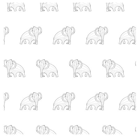Seamless background monochrome sketch mammoth, coloring page antistress stock vector illustration for print, for coloring page Vectores
