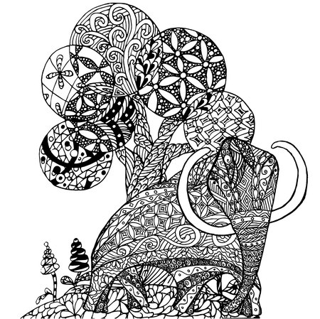 Zentangle style monochrome sketch mammut and tree, coloring page antistress stock vector illustration for print, for coloring page Illustration