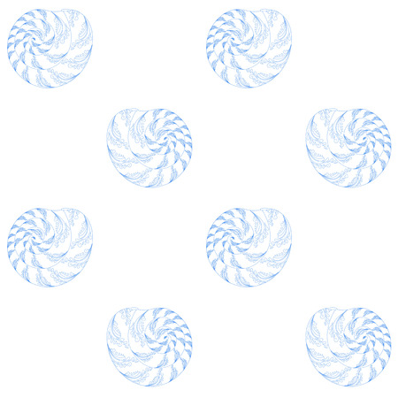 Hand drawn zentangle style shellfish seamless blue on white pattern for web, for print stock vector illustration