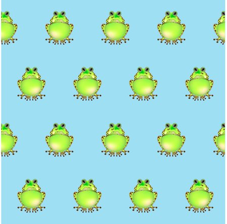 Green frog on blue seamless pattern, design element stock vector illustration for print, for coloring page