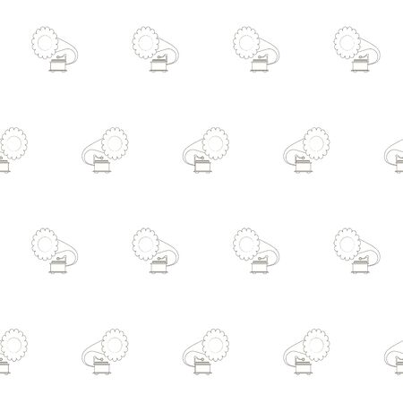 Gramophone seamless monochrome pattern. Art design elements stock vector illustration for web, for print