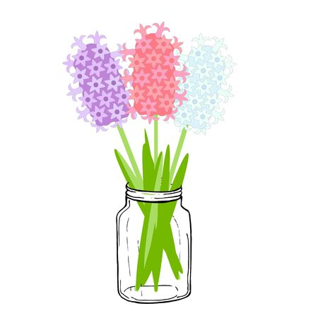 Pink, blue and violet hyacinth in jar. Art spring flowers design element object iolated for web, for print Stock Illustratie