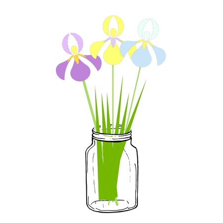 Yellow, blue and violet iris in jar. Art spring flowers design element stock vector object iolated for web, for print 向量圖像