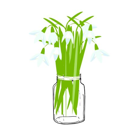 Blue snowdrop in jar. Art spring flowers design element object iolated for web, for print