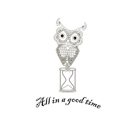 All in a good time motivation banner. Cute cartoons Owl on an hourglass. Monochrome art design element object isolated stock vector illustration for web, for print, for label Illusztráció