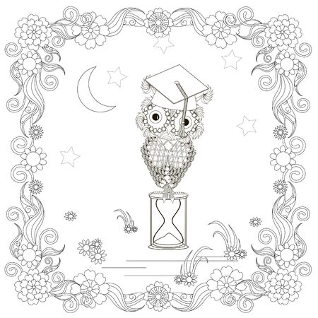 Owl in flowers frame, moon, star. Cartoons bird monochrome art design element for coloring book, coloring page