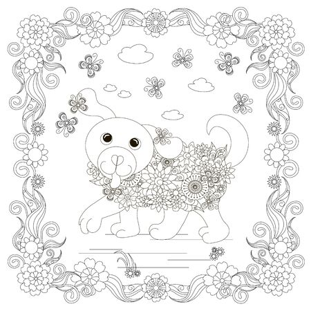 Dog in flowers frame, plant, butterfly. Cartoons animal monochrome art design element for coloring book, coloring page