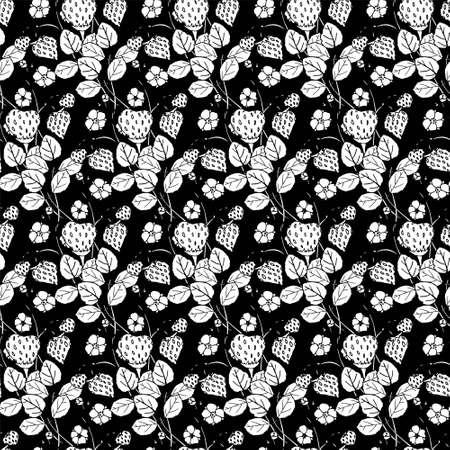 Struwberry on black seamless background. Botanical floral endless pattern for fabric print, for wallpaper, for web, for print art design stock monochrome vector illustration for web, for print 矢量图像
