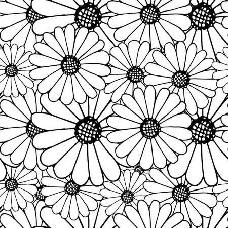 Outline daisy on white seamless background. Botanical endless pattern for fabric print, for wallpaper, for web, for print art design stock monochrome vector illustration for web, for print 矢量图像