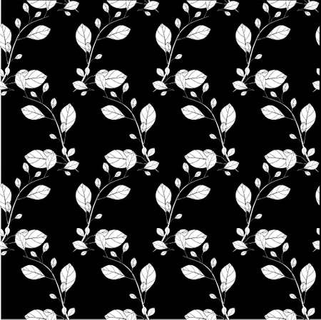 Branch on black seamless background. Botanical floral endless pattern for fabric print, for wallpaper, for web, for print art design stock monochrome vector illustration for web, for print 矢量图像