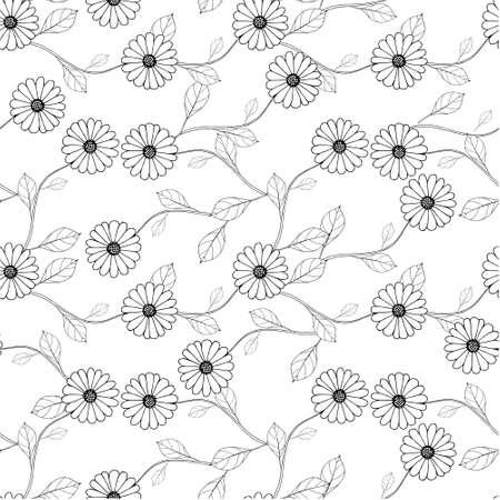 Outline flower leaves on white seamless background. Botanical endless pattern for fabric print, for wallpaper, for web, for print art design stock monochrome vector illustration for web, for print 矢量图像