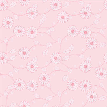 Outline pink leaves on pink seamless background. Botanical endless pattern for fabric print, for wallpaper, for web, for print art design stock vector illustration for web, for print 矢量图像