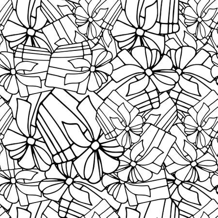 Gift ink monochrome sketch seamless pattern. Hand drawn winter holidays illustration object isolated for web, for print, for wallpaper