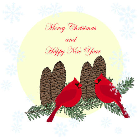 Merry Christmas and Happy New Year banner red cardinals fir green tree branch blue snowflakes