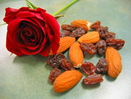 Red Rose with Almonds and Raisins