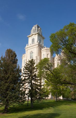 lds: Manti Utah temple of the Church of Jesus Christ of Latter-day Saints, built in the 1800s under Brigham Young Stock Photo