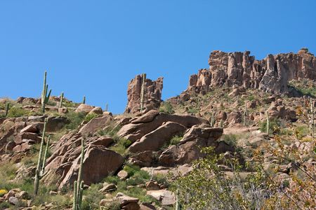 Superstition Mountains outside Mesa, Arizona Stock Photo