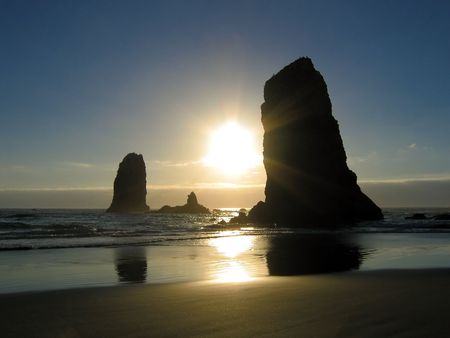 Cannon Beach, Oregon at sunset