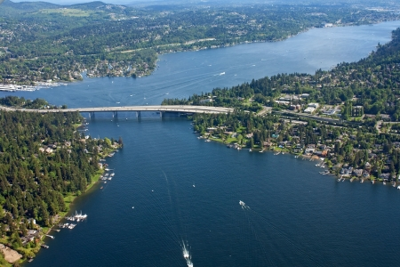 washington landscape: Aerial view of Seattle, Washington bridge Stock Photo