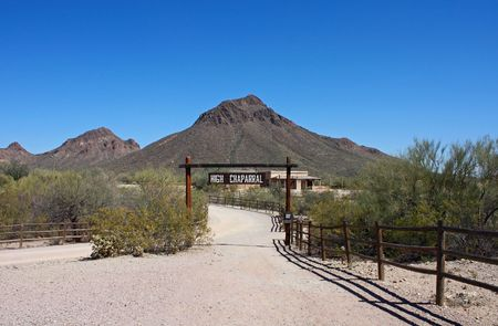 Trail leading to a desert ranch in Arizona