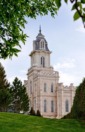 Manti Utah Temple of The Church of Jesus Christ of Latter-day Saints, built in the 1800's under Brigham Young Stock Photo