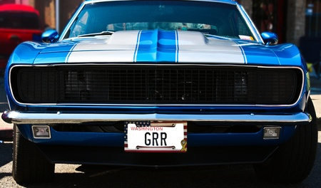 Vintage blue muscle car featuring an aggressive license plate