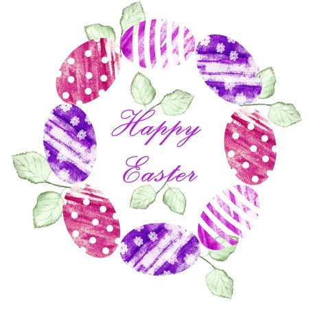 Watercolor eggs and rose leaves in a circle. Stock fotó