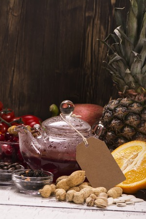 antioxidants: Assortment of food and drinks rich of natural antioxidants. Selective focus Stock Photo