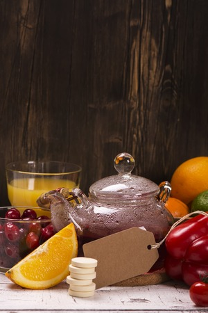 vitamin rich: Food and drinks rich of natural vitamin C. Selective focus Stock Photo