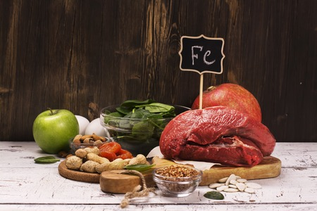 ferrum: Healthy product rich of iron. Natural sources of ferrum. Selective focus