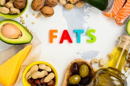 不飽和脂肪です。健康に良い脂肪の源。トップ ビュー 写真素材
