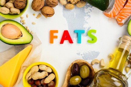 Unsaturated fats. Sources of fats good for health. Top view