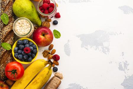 繊維の豊富な食品。健康食品の背景。選択と集中