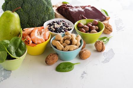 Healthy food rich of vitamin B9