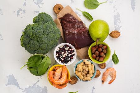 Producten rijk aan vitamine B9 Stockfoto - 77993448
