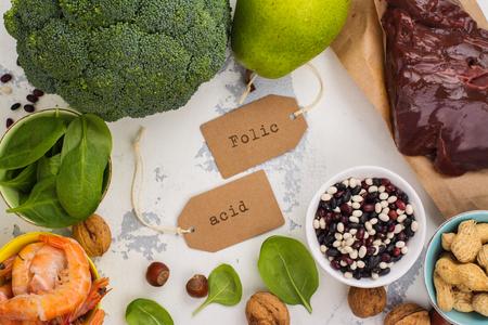 Healthy food, sources of folic acid (vitamin B9)