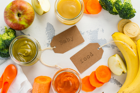 Homemade vegetable and fruit puree with ingredients on white background. Space for text Stock Photo