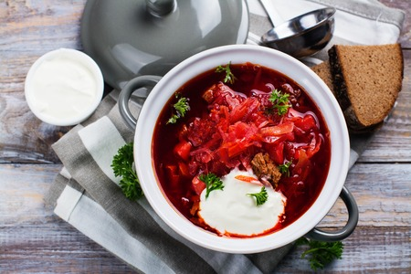 Traditional Russian or Ukrainian beetroot soup borscht. Space for text