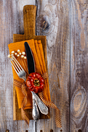 grunge cutlery: Vintage set of cutlery knife, fork. Autumn table setting. Copy space Stock Photo