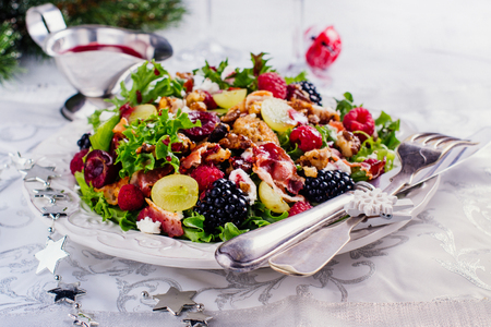 delicious colorful salad for christmas dinner copy space stock photo 84886404