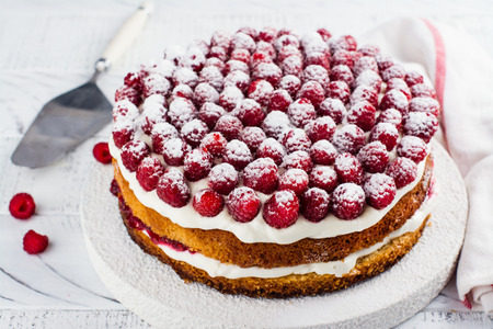 Homemade raspberry cake. Delicious summer dessert. Copy space