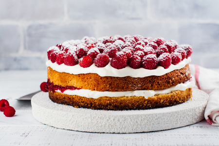 Homemade raspberry cake. Delicious summer dessert. Copy space