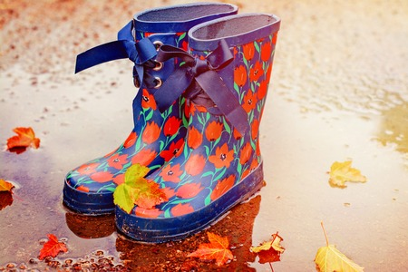 Pair of gum boots in a puddle. Fall fun and walk concept. Toned image. Space for text