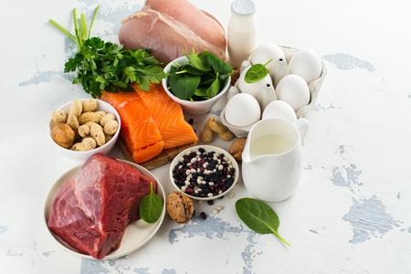 高タンパク質食品-魚、肉、家禽、ナッツ、卵。健康な髪に良い製品。テキスト用のスペース