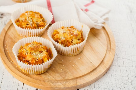 Savory vegetable muffins with carrot, cabbage and sesame seeds
