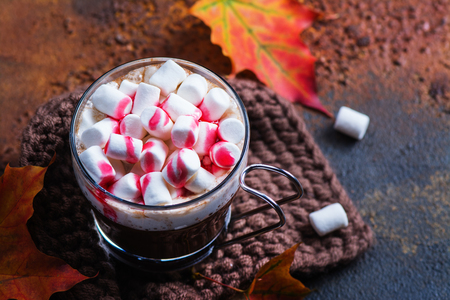 Hot peppermint chocolate with marshmallows and raspberry syrup . Copy space